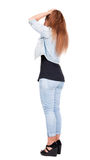 Back view of standing beautiful red head woman. Royalty Free Stock Photography