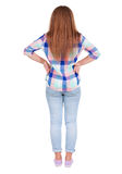 Back view of standing beautiful red head woman. Stock Image