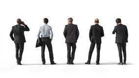 Back view of standing business men. Illustration on white background, 3d rendering isolated. Back view of standing business men. 3d rendering isolated Stock Photos