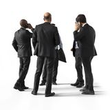 Back view of standing business men. Illustration on white background, 3d rendering isolated. Back view of standing business men.3d rendering isolated Stock Photography