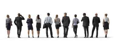 Back view of standing business people. Illustration on white background, 3d rendering isolated. Back view of standing business people. 3d rendering isolated Stock Images