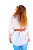 Back view of standing redhaired woman Stock Photos