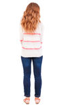 Back view of standing redhead woman Royalty Free Stock Photos