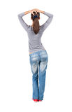 Back view of standing young beautiful  brunette woman. Stock Photos