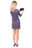 Back view of standing young beautiful  girl with tablet computer Stock Images
