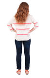 Back view of standing young beautiful  redhead woman Stock Photos