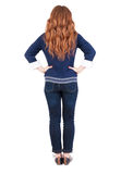 Back view of standing young beautiful  redhead woman Royalty Free Stock Photo
