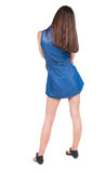 Back view of standing young beautiful  woman. brunette girl head Royalty Free Stock Images