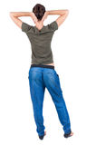 Back view of standing young beautiful  woman.  brunette girl ibe Royalty Free Stock Photography
