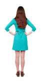 Back view of standing young beautiful  woman.  girl  watching. Royalty Free Stock Photography