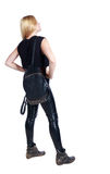 Back view of standing young beautiful  woman. Royalty Free Stock Photo
