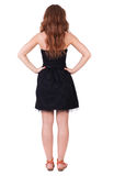 Back view of standing young beautiful  woman With long red curly Royalty Free Stock Photo