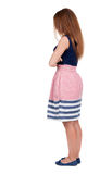 Back view of standing young beautiful  woman. Stock Photography