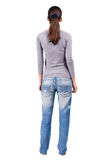 Back view of standing young  brunette woman. Royalty Free Stock Photos