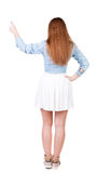 Back view of successful woman thumbs up Royalty Free Stock Photos