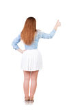 Back view of successful woman thumbs up Royalty Free Stock Image