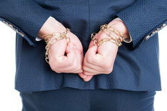 Back view of suspect lawyer chained for corruption Stock Image