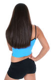 Back View Of A Teen Girl In Workout Clothes Over White Stock Photography