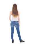 Back view of teenage girl isolated on white Royalty Free Stock Photos