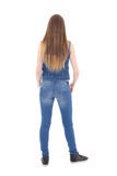Back view of teenage girl in jeans clothes isolated on white Stock Images
