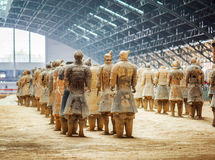 Back view of terracotta soldiers of the famous Terracotta Army. XI`AN, SHAANXI PROVINCE, CHINA - OCTOBER 28, 2015: Back view of terracotta soldiers of the famous stock photos