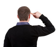 Back view of thinking business man Stock Images