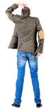 Back view of thinking business man in jacket . Stock Photos
