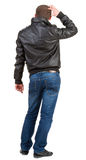 Back view of thinking  man. Royalty Free Stock Photography