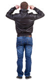 Back view of thinking  man in jacket. Stock Photo