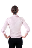 Back view of thoughtful business woman contemplating, isolated on white. Back view of thoughtful business woman contemplating, isolated on white stock images