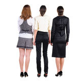 Back view of three beautiful young bussineswoman looking Royalty Free Stock Image