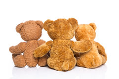Back view from three teddy bears isolated - concept for family. Stock Photo