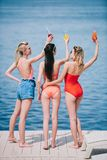 back view of three young women in swimwear holding glasses with summer cocktails stock photography