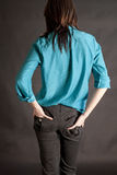 Back View of Tight Pants and Teal Silk Blouse Stock Images