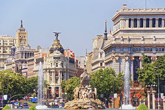 Back view to Cibeles fountain and Alcala street in Madrid Stock Photo