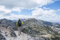 Back view of a tourist walking in the mountains Stock Photo