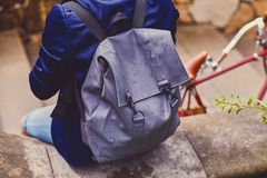 Traveler male with a backpack. Back view of the traveler male with a backpack royalty free stock photo