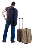 Back view of traveling busness man with  suitcase Royalty Free Stock Image