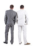 Back view of Two business men.  Rear view. Royalty Free Stock Photography