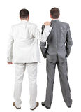 Back view of Two businessmen discuss. Stock Photos