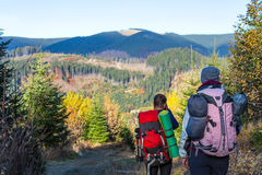 Back View of two Hikers with Backpacks walking on Forest Trail. Back View of two Hikers Man and Woman with Backpacks walking on Forest Trail Royalty Free Stock Photos