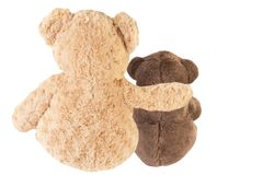 Back view of two teddy bears friends, isolated on white background. Friendship concept Royalty Free Stock Photos