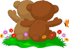 Back view of two teddy bears sitting in the garden Stock Images