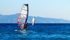 Back view of two windsurfers in action mooving parallel to each other Royalty Free Stock Photography