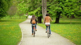 Back View of Two Young Dark-haired Women Riding on Bicycles in the City Park Together. stock video