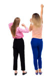 Back view of two young  women dancing. Stock Photos