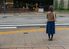 Back view of unidentified Japanese woman in leather jacket wait for green light to cross a road in Osaka. Back view of unidentified Japanese woman in leather royalty free stock images