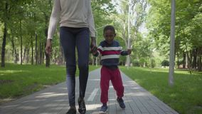 Unrecognizable African American woman walking in the park with her little son, holding hands. Cute child spending time. Back view of unrecognizable African stock video footage
