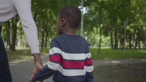 Back view of unrecognizable African American woman walking in the park with little son, boy and mom join hands. Cute. Back view of unrecognizable African stock video