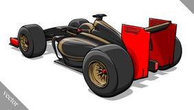 Back view vector fast cartoon formula race car illustration art Royalty Free Stock Photos